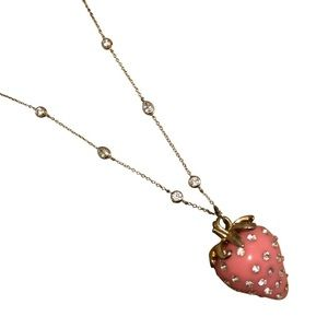 Diamond Strawberry Charm Necklace